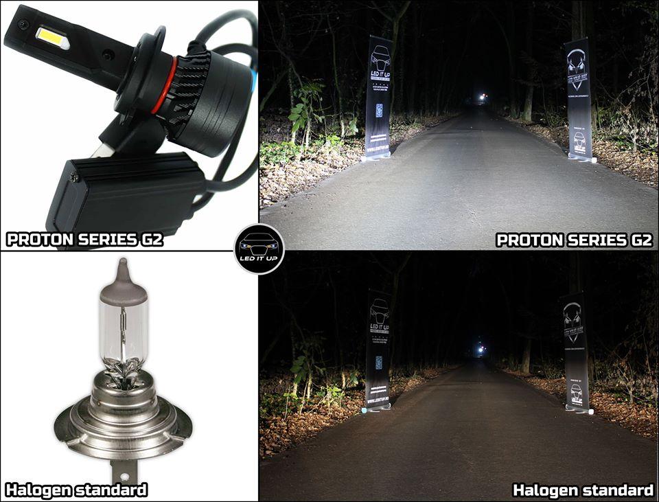 Kit LED Proton Series G2 vs. Halogen H7 standard