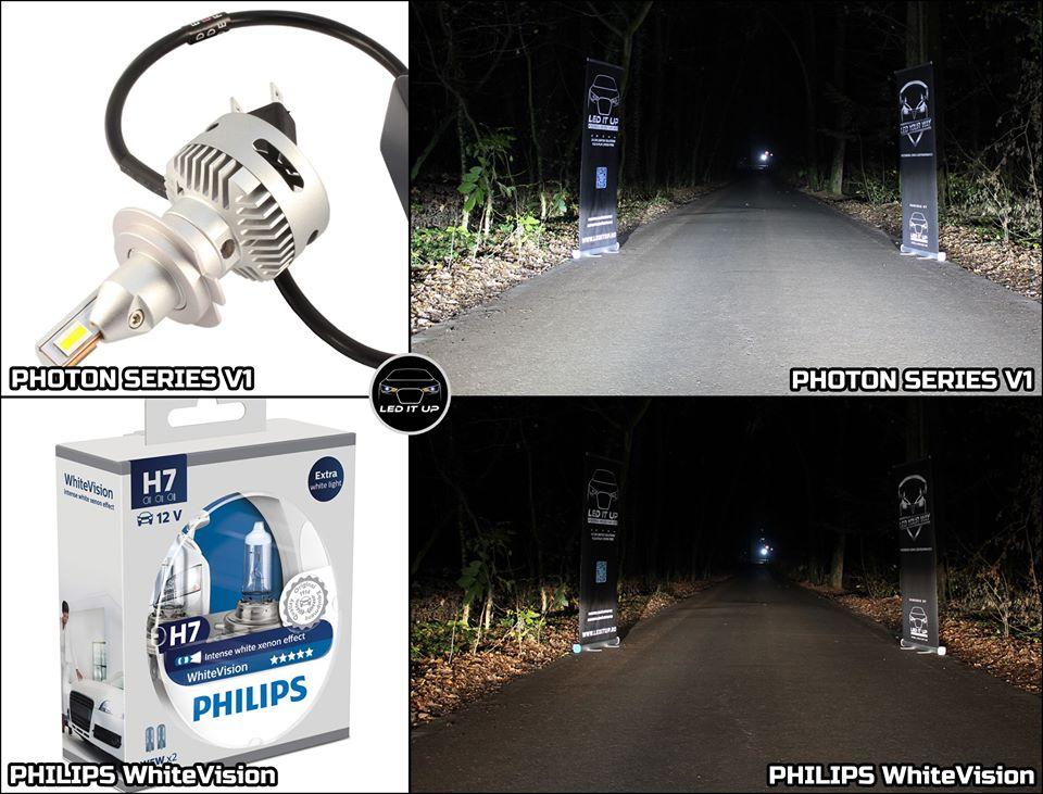Photon Series V1 vs. Halogen H7 Philips White Vision